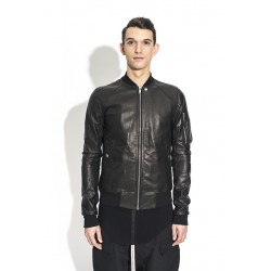 RICK OWENS RU18S5775 LEATHER BOMBER BLACK