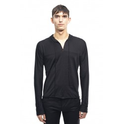 MA+ T211DH JCL13 HOODED ONE PIECE LONG SLEEVE T-SHIRT BLACK