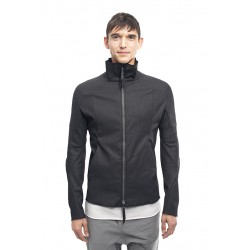 LEON EMANUEL BLANCK FP-LJ-01 FORCED JACKET RESINATED COTTON LINEN TWILL 01 BLACK