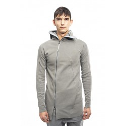 LEON EMANUEL BLANCK DIS-HO-01-Z DISTORTION ZIPPED HOODY  03 MED GREY