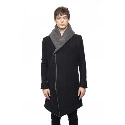 A NEW CROSS ANC I - 007 DOUBLE HOODED ARTISANAL WOOL COAT