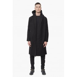 DEVOA CTK-RFW HOODED COAT VIRGIN WOOL COMPRESSED BLACK